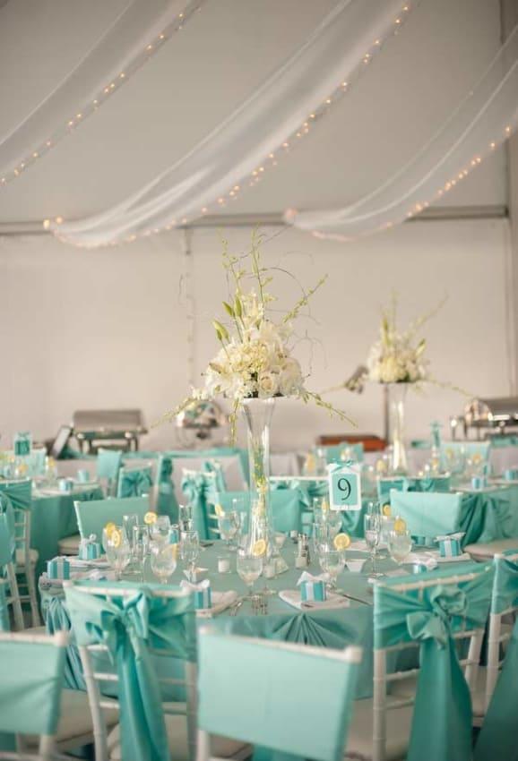 mesa de Casamento Azul Tiffany