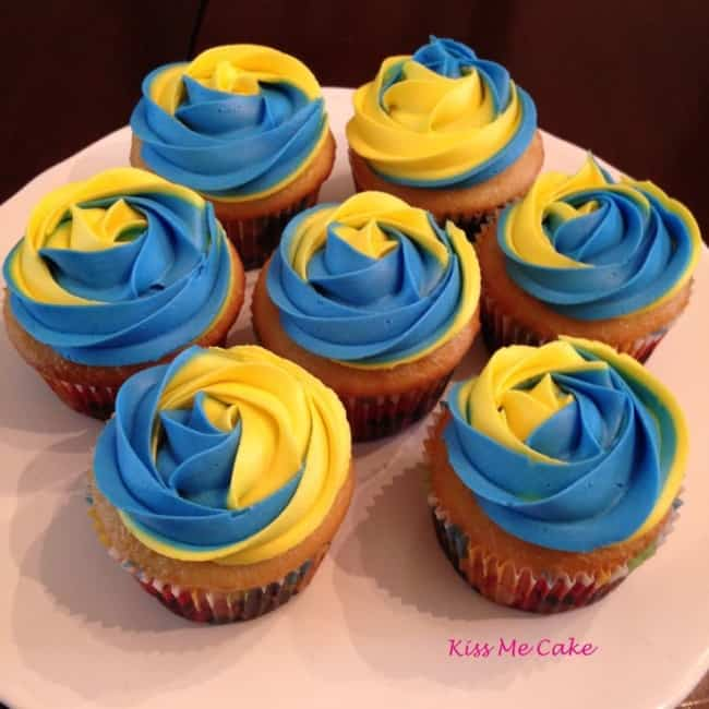 cupcake azul e amarelo