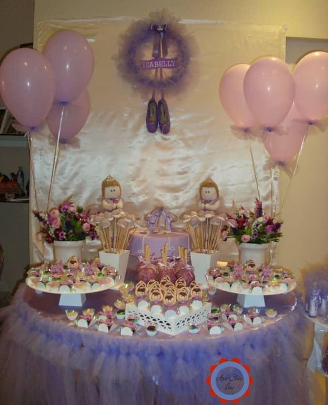 decoração de chá de bebê de balé