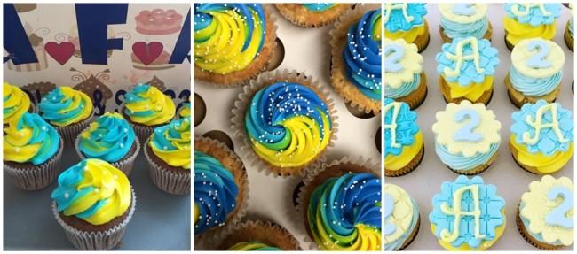 ideias para cupcake azul e amarelo