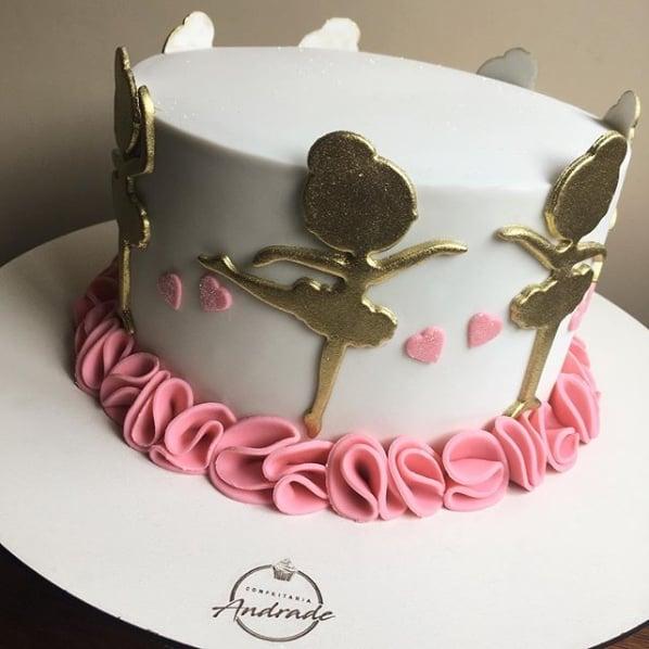 bolo bailarina rosa e dourado