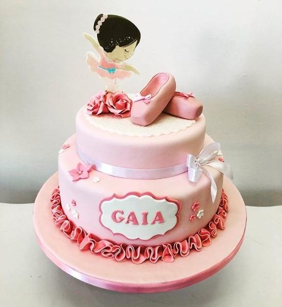 bolo de 2 andares para festa bailarina