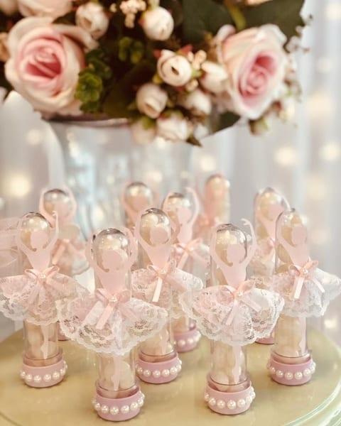tubete decorado para chá de bebê bailarina