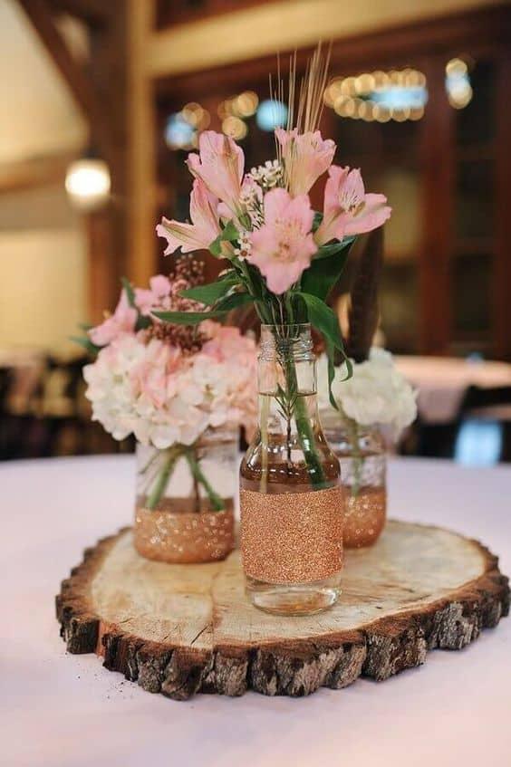 centro de mesa rústico para casamento
