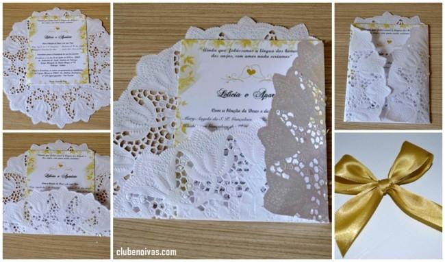 DIY convite de casamento com papel rendado
