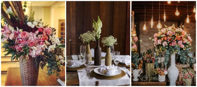 decoração com arranjos de flores para casamento rústico