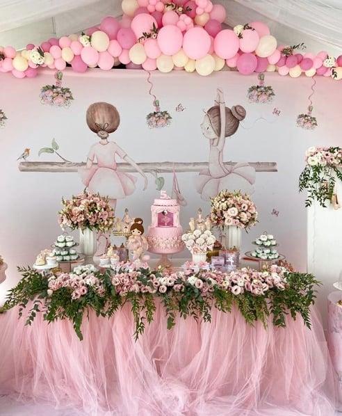 decoração em rosa para chá de bebê bailarina