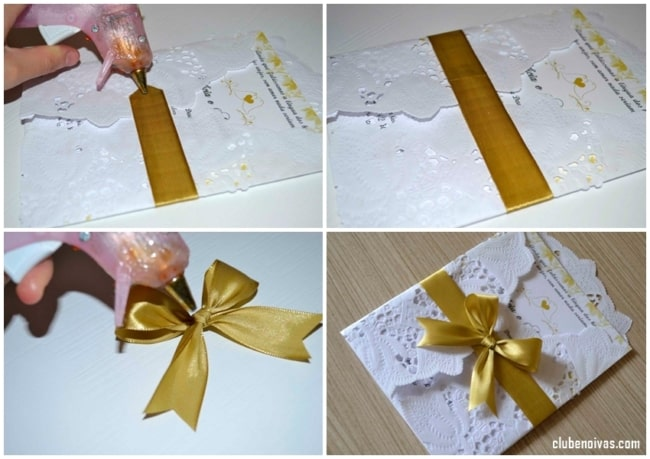 passo a passo de convite com papel rendado