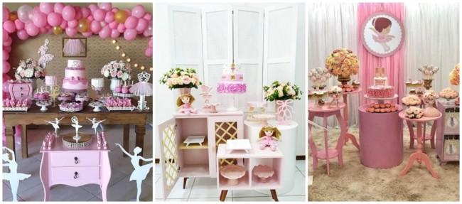 chá de bebê rosa com decoração de balé