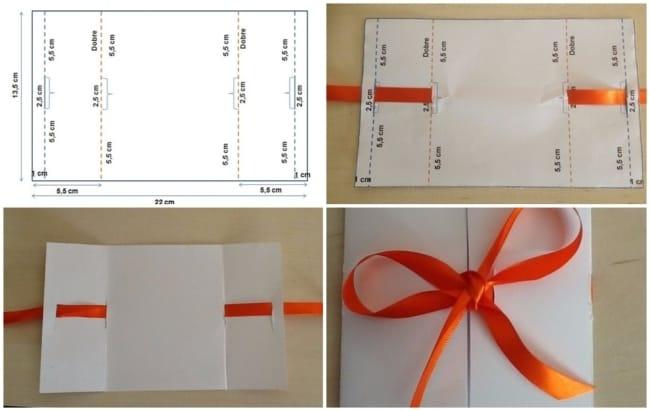como fazer convite de casamento simples com fita de cetim