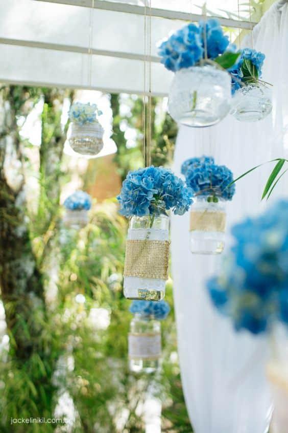 arranjos de flores para casamento com hortênsias