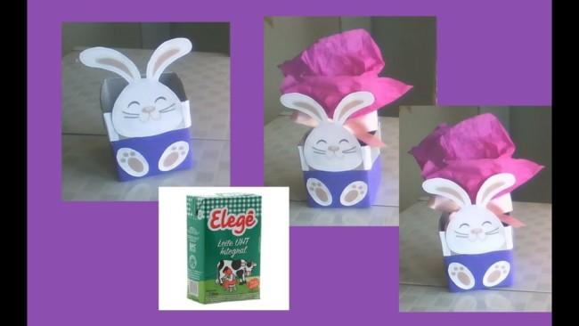 A embalagem de leite vira caixa decorada de Páscoa