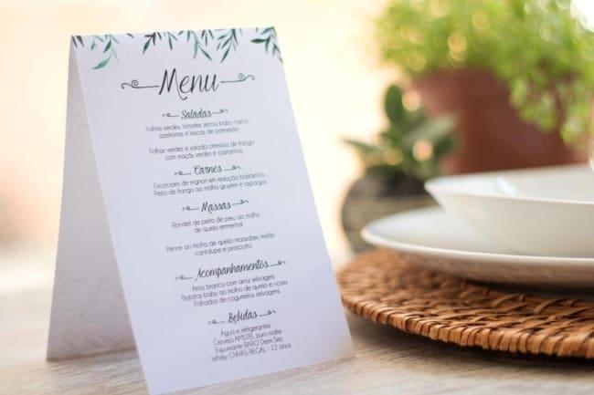 Cardápio de almoço de casamento