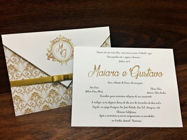 Convite de casamento dourado ideias