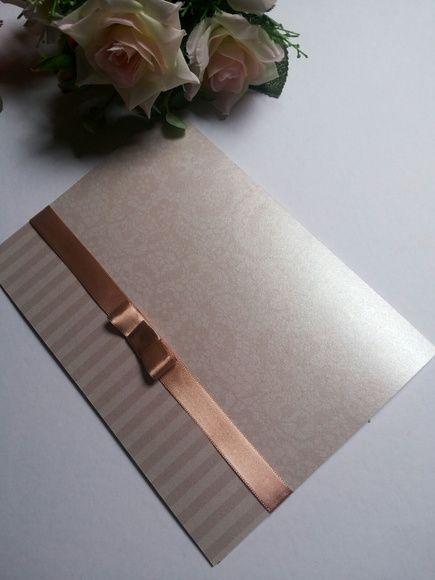 Convite de casamento em papel Aspen Linear com laço13