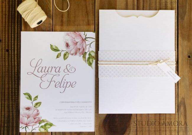 Convite de casamento em papel Evenglow Linear9