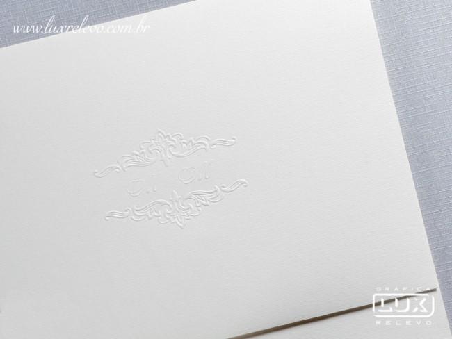 Convite de casamento em papel Rives Linear branco7