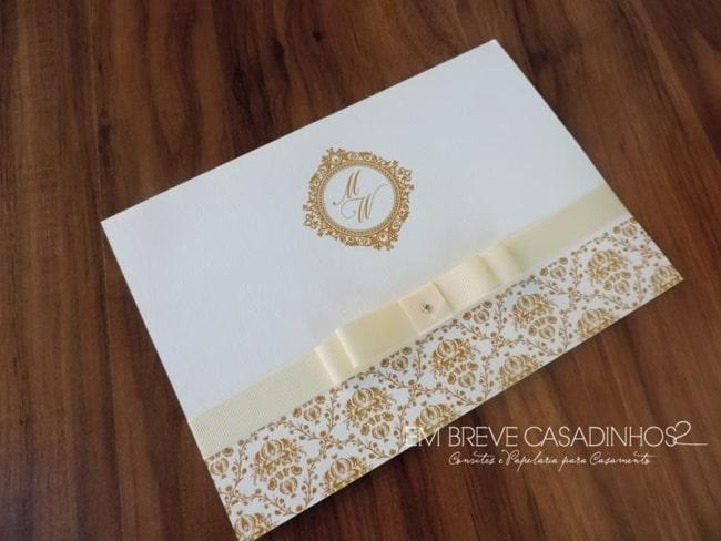 Convite de casamento em papel Rives Linear com laço8