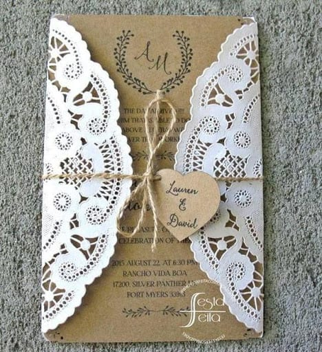 Convite de casamento em papel kraft com renda3