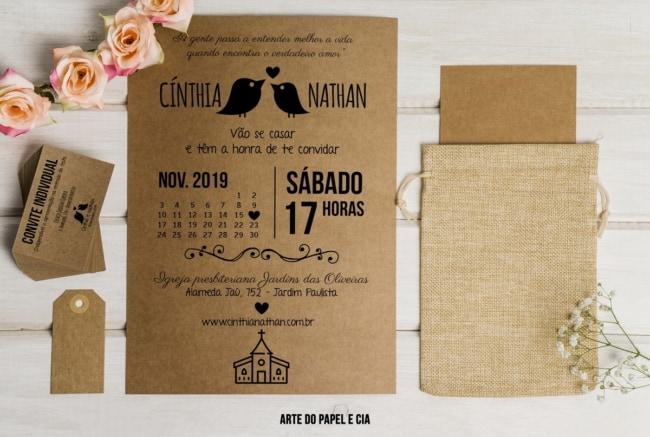 Convite de casamento em papel kraft e juta2