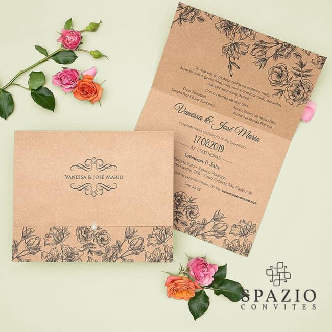 Convite de casamento em papel kraft1