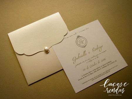Convite de casamento em papel liso branco19