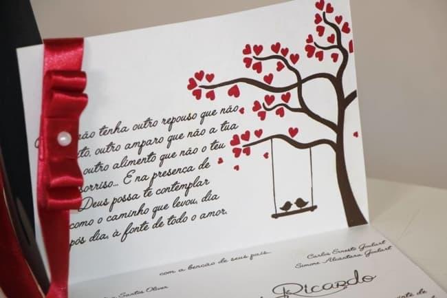 Convite de casamento em papel liso com estampa20