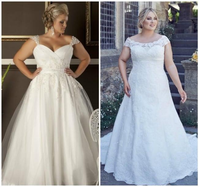 Dois modelos de vestidos de noiva evasê plus size