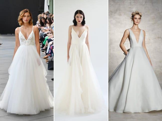 Ideias de vestido de noiva evasê com gola em V