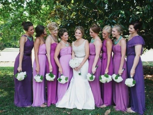 Madrinhas com tons de lilás