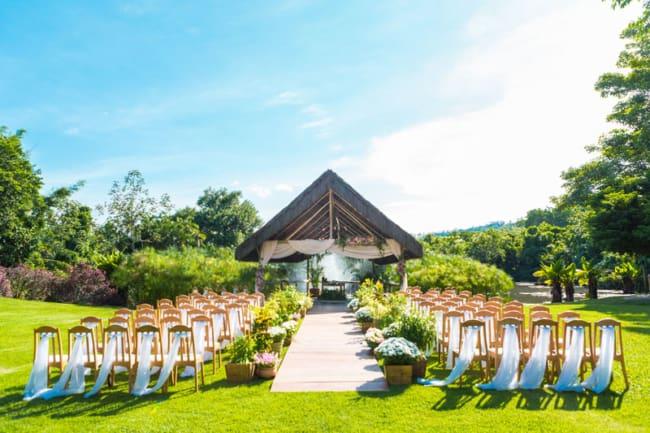 Paisagem natural no casamento no campo