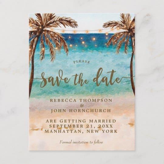 Save the date criativo para casamento na praia