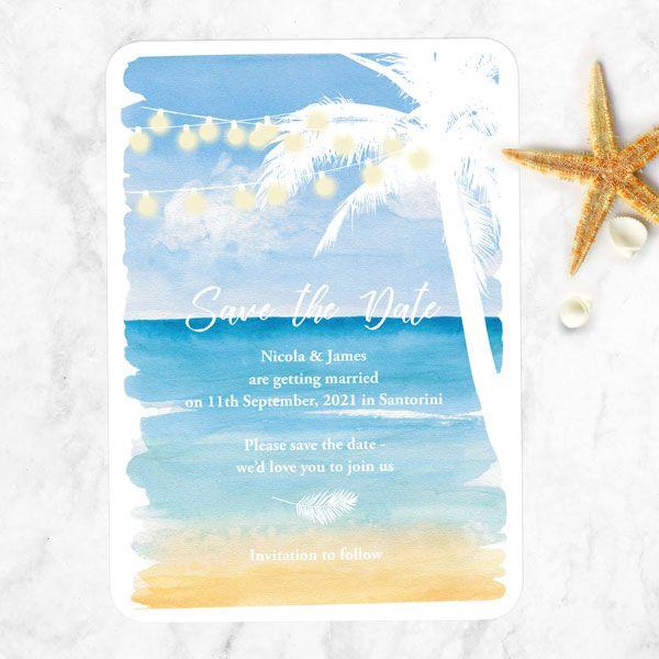 Save the date criativo praia simples
