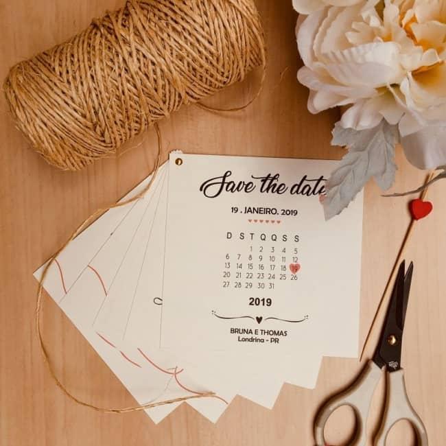 Save the date impresso calendario