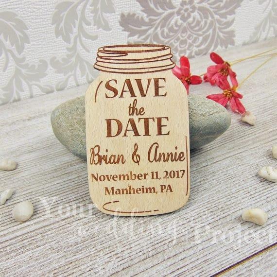 Save the date rústico de madeira
