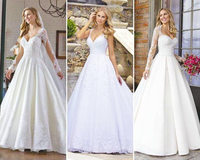 Três modelos de vestidos de noiva evasê