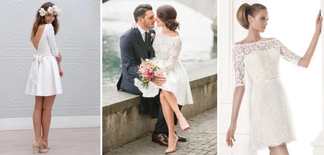 Três modelos de vestidos evasê para noivas baixinhas