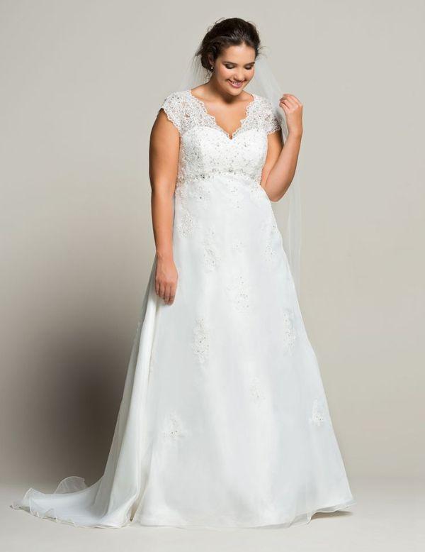 Vestido de noiva plus size com corte evasê