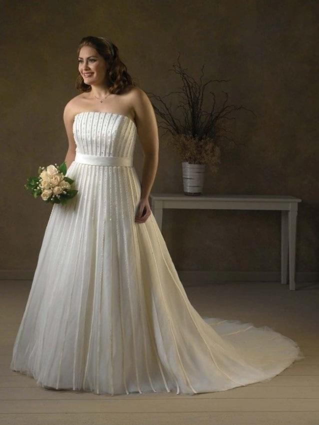 Vestido plissado para noiva plus size