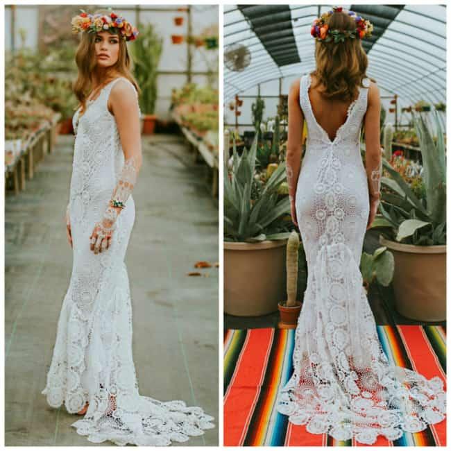 Vestidos em crochê fazem sucesso para casamento de dia