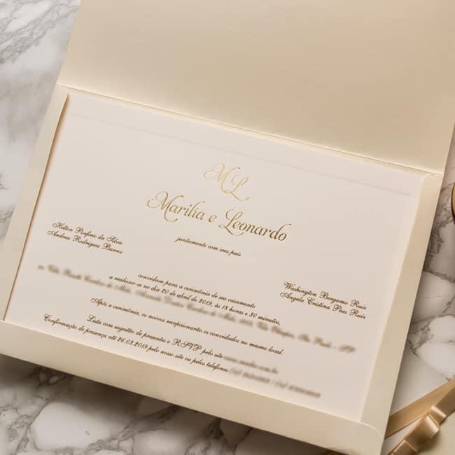 como fazer Convite de casamento dourado