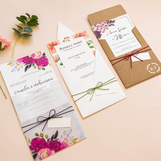 como fazer Convite de casamento floral