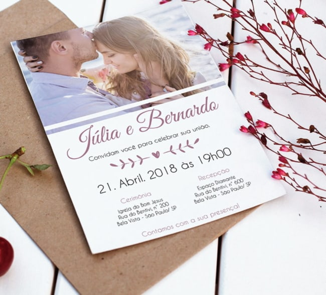 ideia de Convite de casamento com foto
