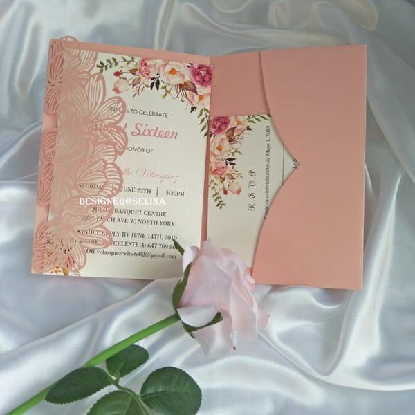 ideia de Convite de casamento rose