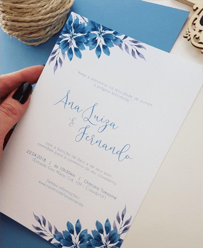 ideias de Convite de casamento azul