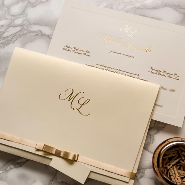 ideias de Convite de casamento dourado