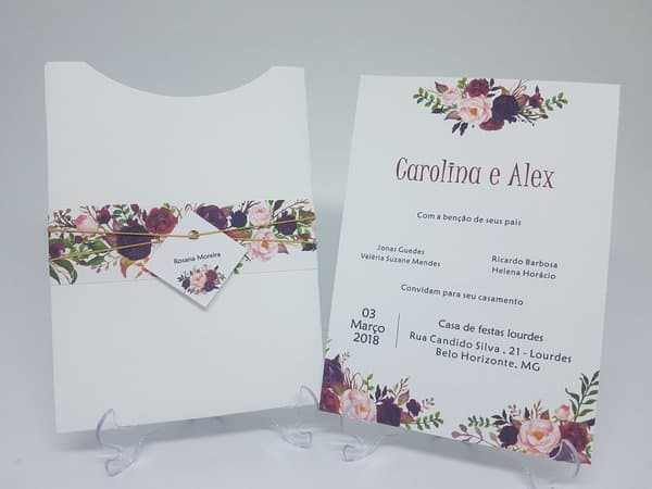 ideias de Convite de casamento floral