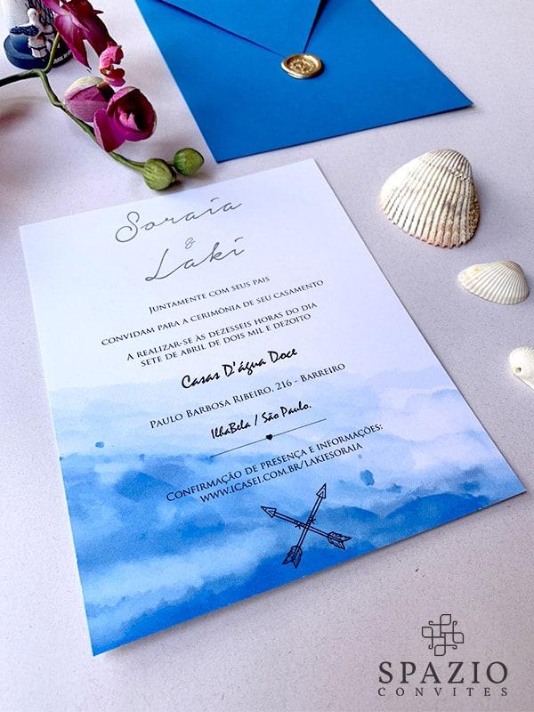 lindo Convite de casamento azul