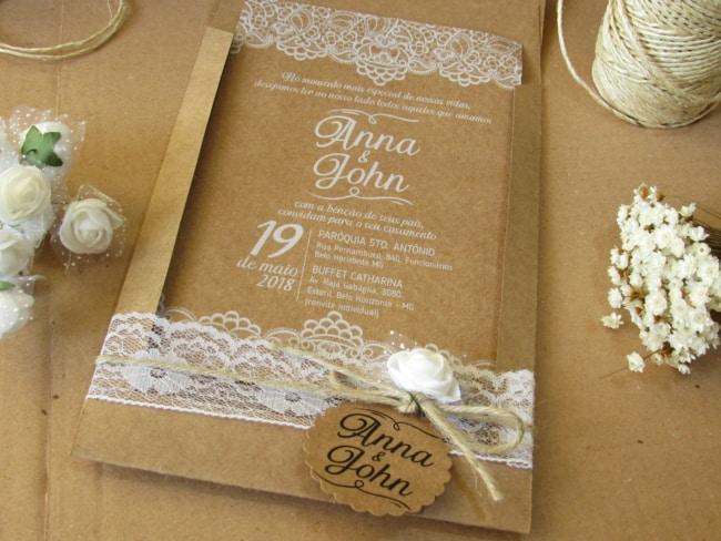 lindo Convite de casamento chique