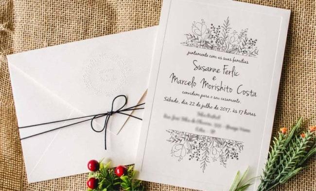 lindo Convite de casamento simples e barato